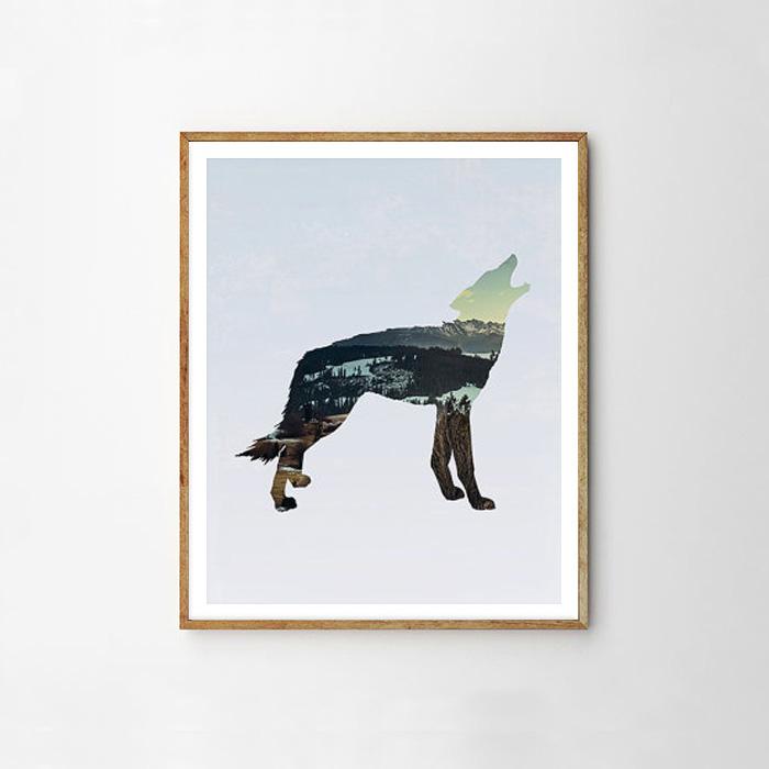 画像1: カリフォルニア大自然 WOLF オオカミ ART ポスター (1)
