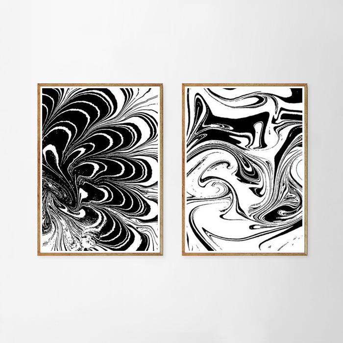画像1: マーブルアート モノトーン ポスター(2枚組) (1)