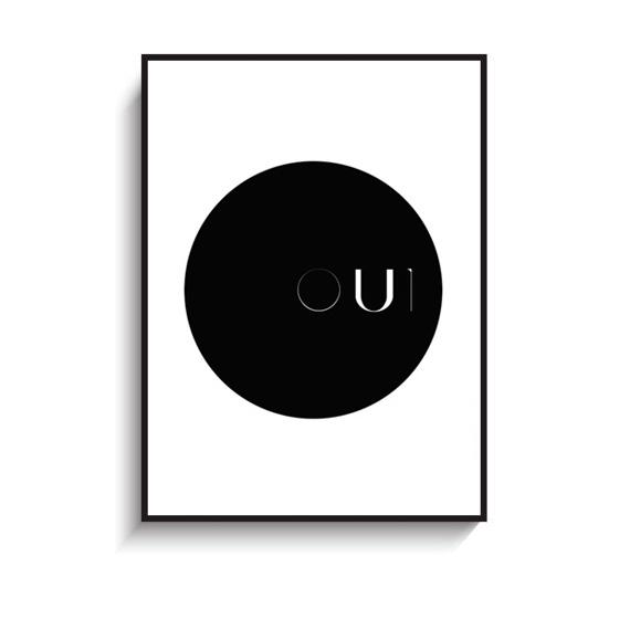 画像1: OUI French フランス語 モノトーンポスター (1)