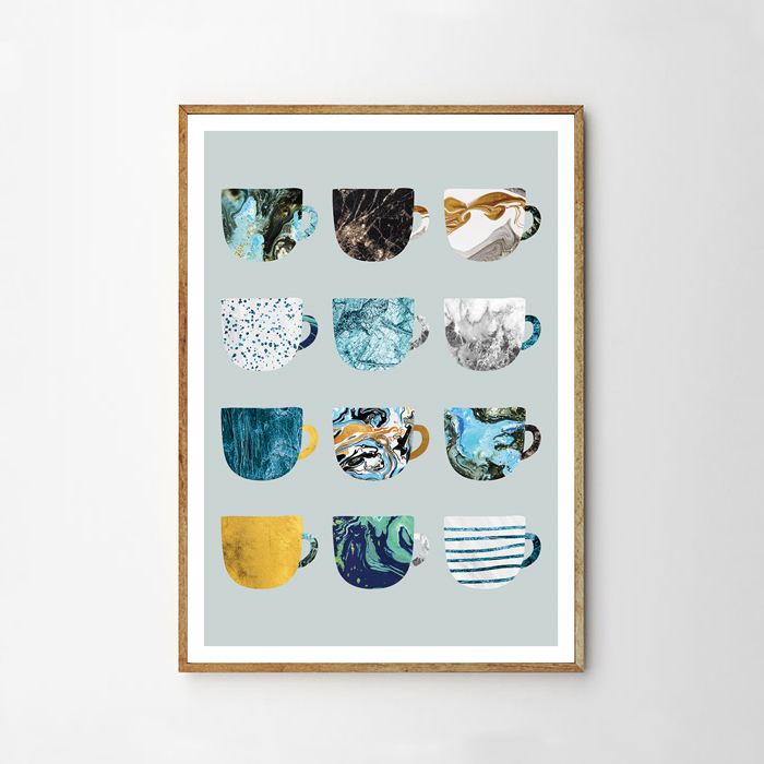 画像1: CAFE Mug マグカップ ポスター (Blue) (1)