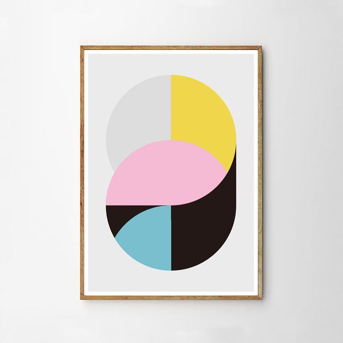 画像1: Geometry Circles Mix  ジオメトリー おしゃれポスター (1)