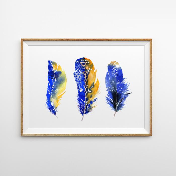 画像1: Water Color Feather 羽根 フェザー アートポスター (1)