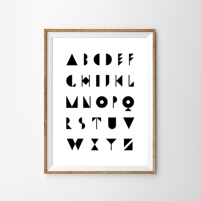 画像1: レトロ アルファベット A to Z  モノトーン ポスター (1)