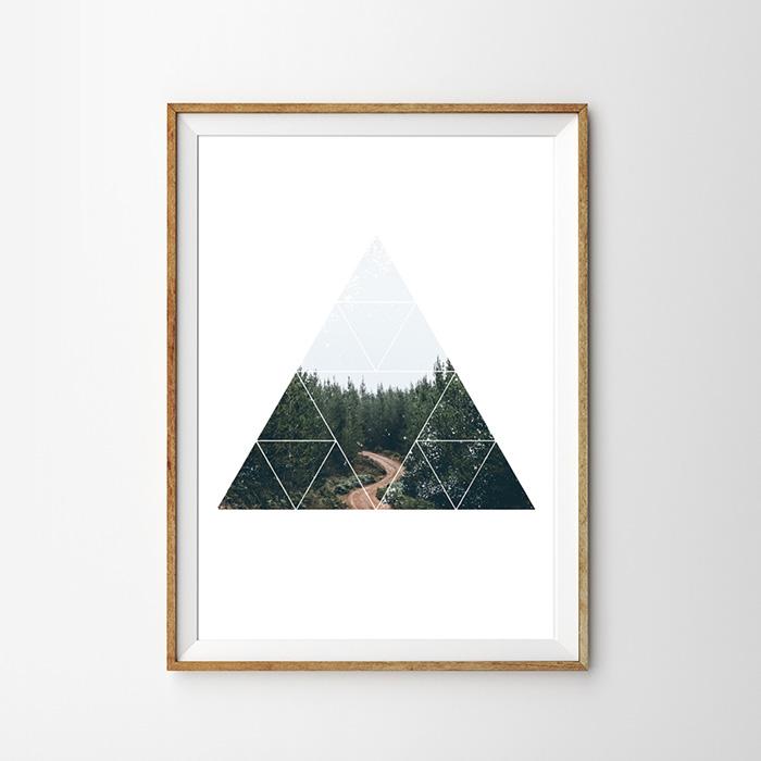 画像1:  Geometric ジオメトリック 山 Mountain ポスター (1)