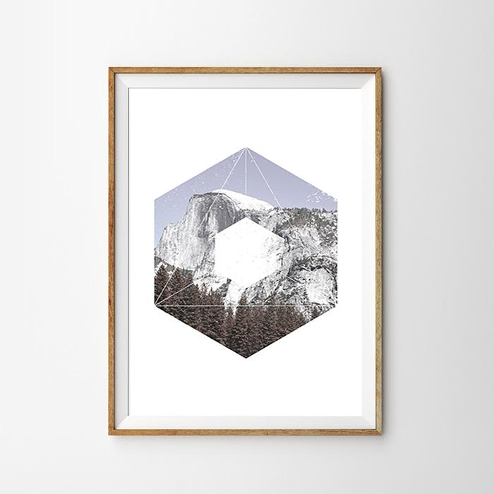 画像1:  Geometric ジオメトリック Rock Mountain 石山 ポスター (1)