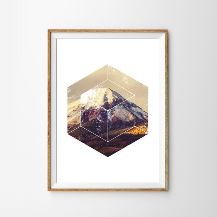 画像1:  Geometric ジオメトリック Fall Mountain 秋山 ポスター (1)