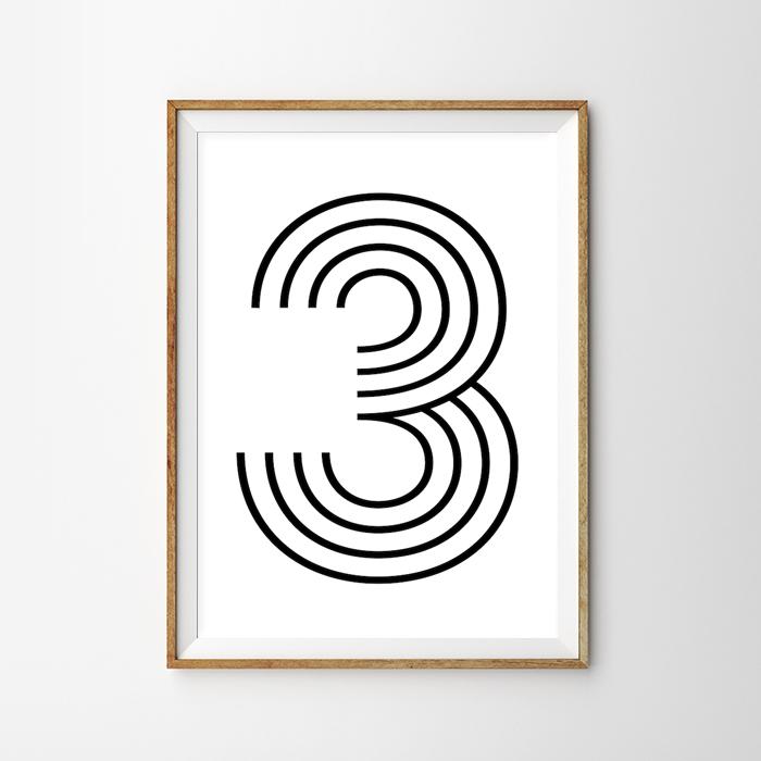 画像1: Number 3 ナンバー Typography タイフォグラフィー アートポスター (1)