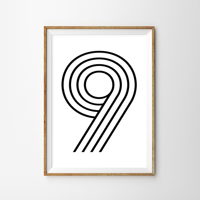 画像1: Number 9 ナンバー Typography タイフォグラフィー アートポスター (1)