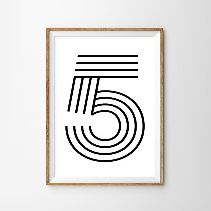 画像1: Number 5 ナンバー Typography タイフォグラフィー アートポスター (1)