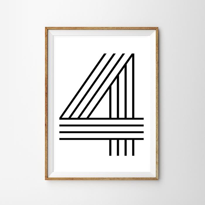 画像1: Number 4 ナンバー Typography タイフォグラフィー アートポスター (1)