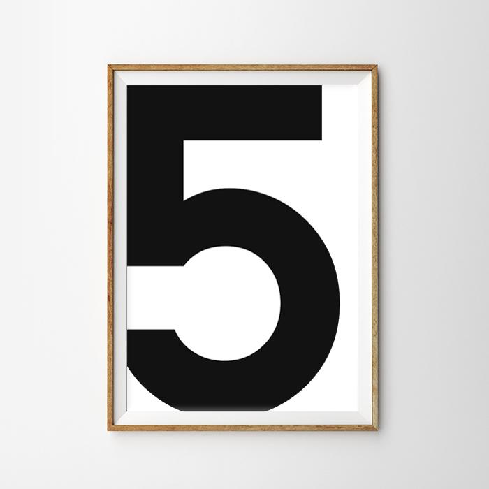 画像1: No. 5 - Typography タイフォグラフィー ナンバーポスター (1)