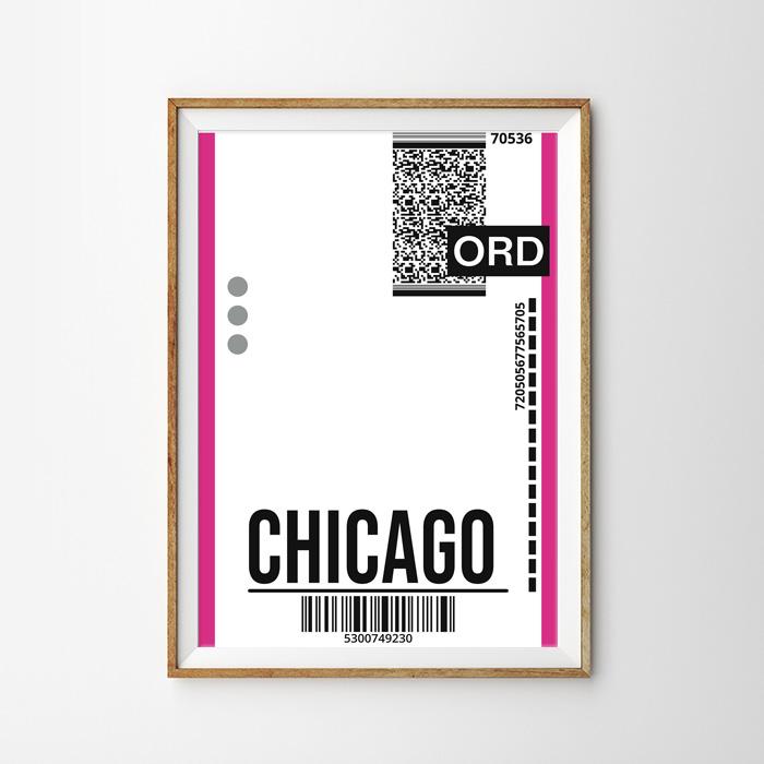 画像1: CHICAGO シカゴ バッゲージ ラベル おしゃれポスター (1)