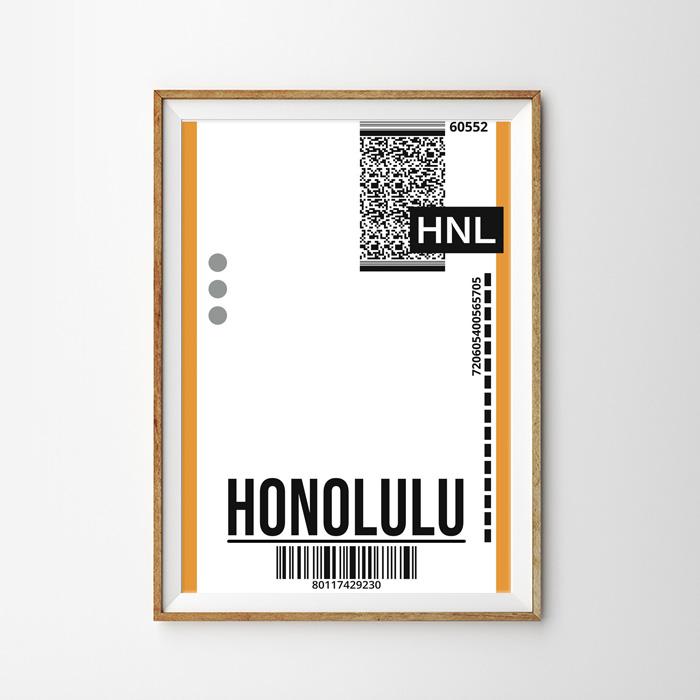 画像1: HONOLULU ホノルル バッゲージ ラベル おしゃれポスター (1)