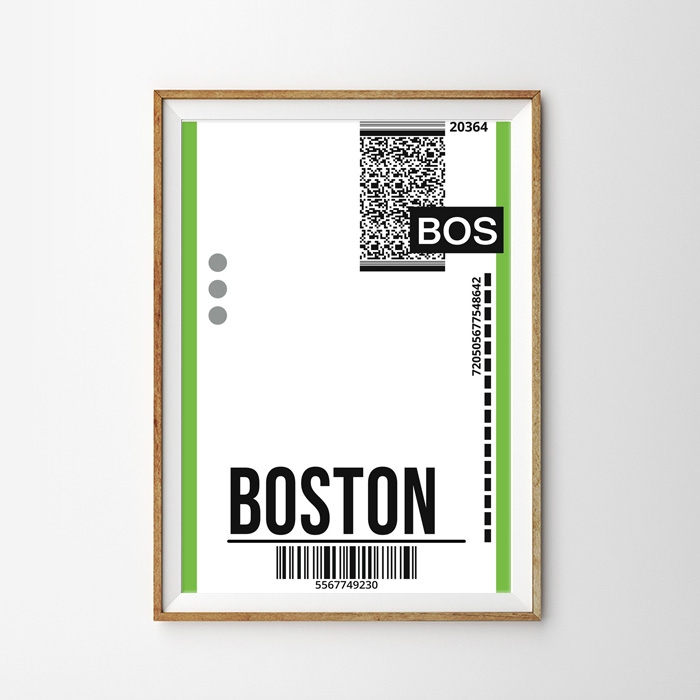 画像1: BOSTON ボストン バッゲージ ラベル おしゃれポスター (1)