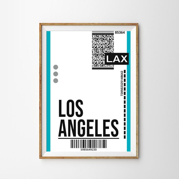 画像1: LOS ANGELES ロサンゼルス バッゲージ ラベル おしゃれポスター (1)