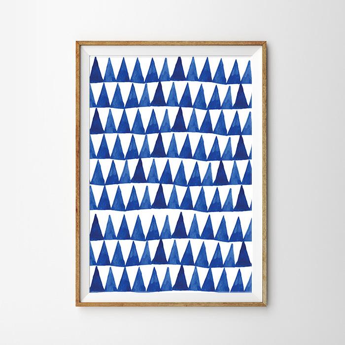 画像1: ジオメトリック インディゴ Triangles ポスター (1)