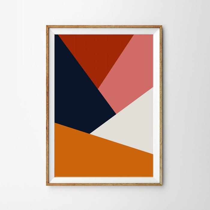 画像1: Modern Geometric Triangle ジオメトリック モダン ポスター (1)
