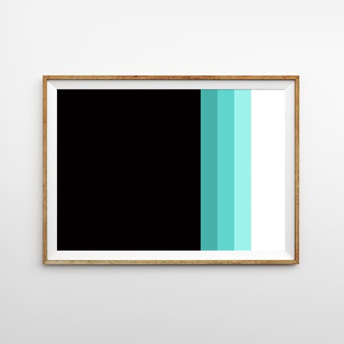 画像1: Black & Green MIX ライン ポスター (1)