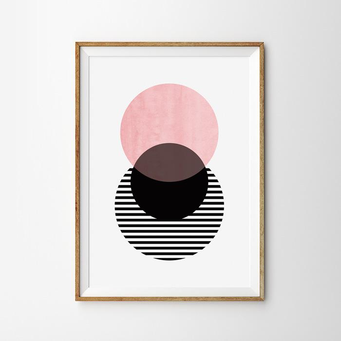 画像1: 桜 和モダン ジオメトリック おしゃれポスター (1)