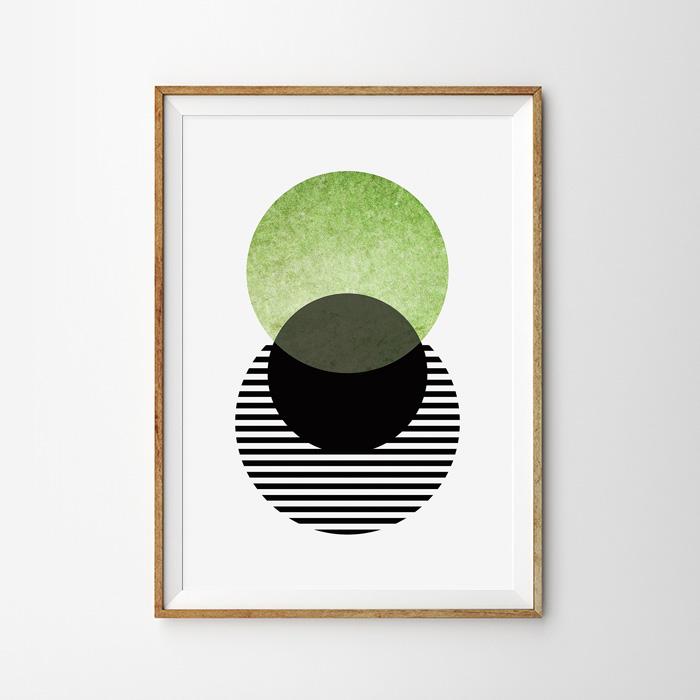 画像1: 抹茶 和モダン ジオメトリック おしゃれポスター (1)