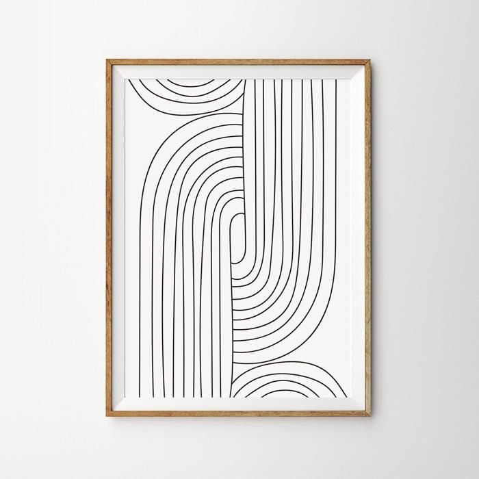 画像1: Stripe Line Art ストライプライン ポスター (A) (1)