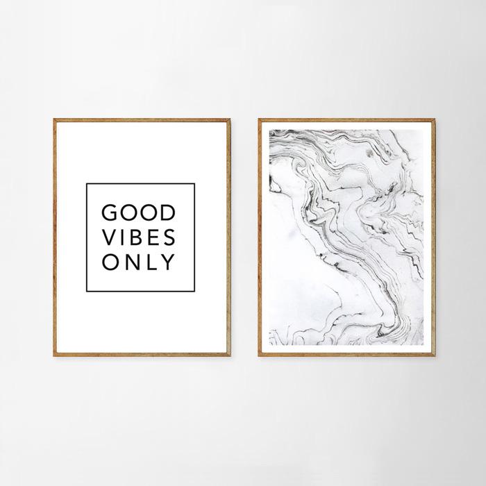 画像1: マーブル モノトーン GOOD VIBES ONLY  おしゃれポスター(2枚組) (1)