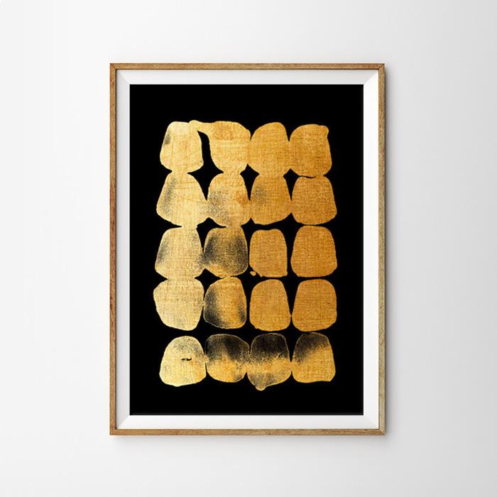 画像1: Abstract GOLD & BLACK モダンアートポスター (1)
