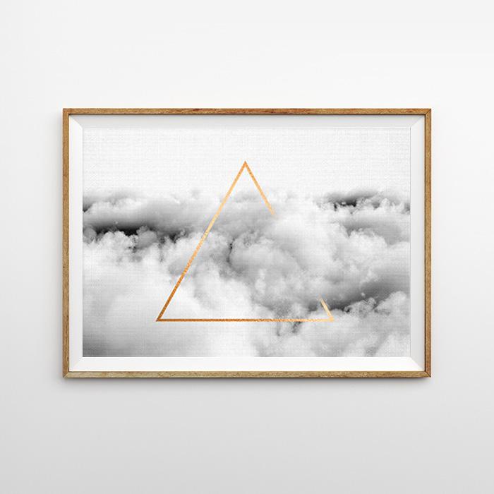 画像1: Geometric ジオメトリック 雲の上のトライアングル ポスター (1)