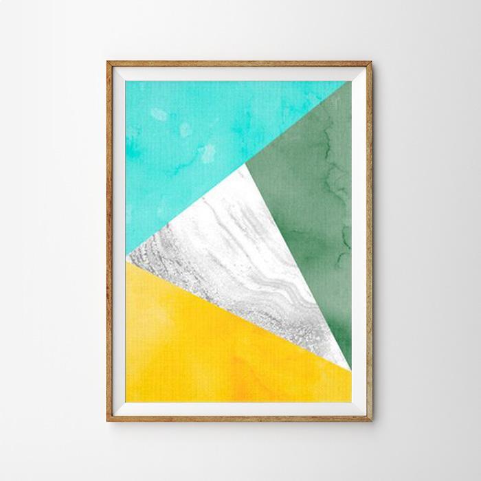 画像1: Geometric ジオメトリック トライアングルズ Aqua Green Yellow モダン アートポスター (1)