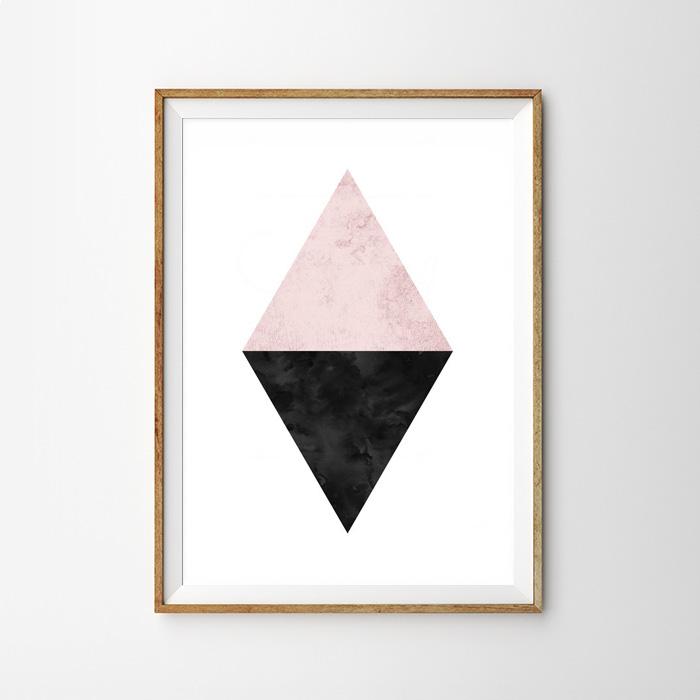 画像1: Geometric ジオメトリック 2TONE スタイリッシュ ポスター (ピンク) (1)