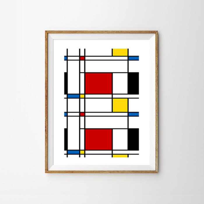 画像1: Geometric ジオメトリック SIMPLE スクエアー アートポスター (1)