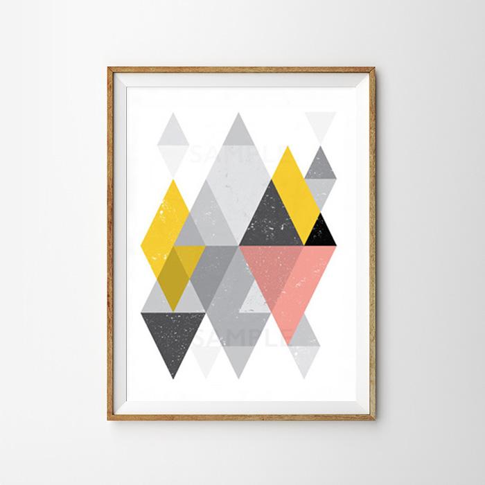 画像1: Triangle Geometric 三角形 ジオメトリック アートポスター (1)