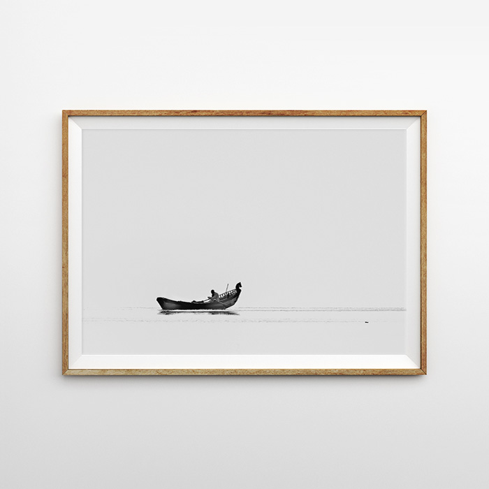 画像1: Boat in Tranquility ボート モノトーン 自然ポスター (1)