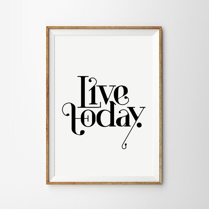 画像1: 『LIVE TODAY』モノトーンメッセージ ポスター (1)