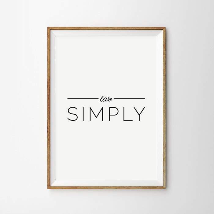 画像1: 『 Live SIMPLY』モノトーン メッセージ ポスター (1)
