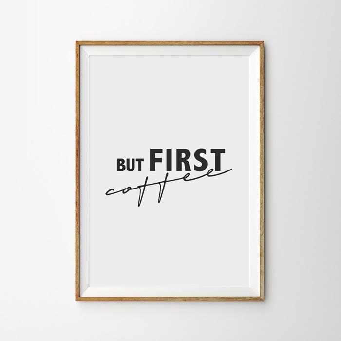 画像1: 『But First COFFEE』カフェ ポスター (1)