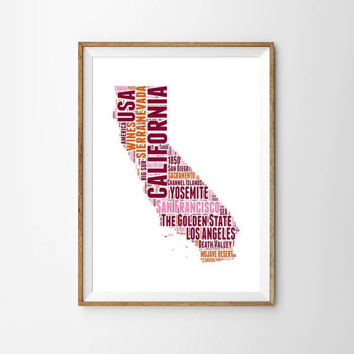 画像1: カリフォルニア 地域ネーミング ポスター(PINK) (1)