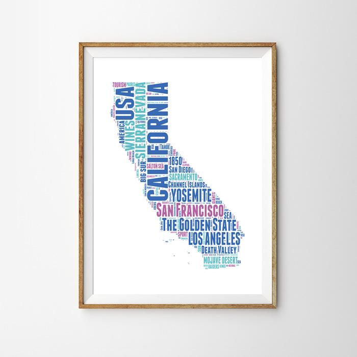画像1: カリフォルニア 地域ネーミング ポスター(BLUE) (1)