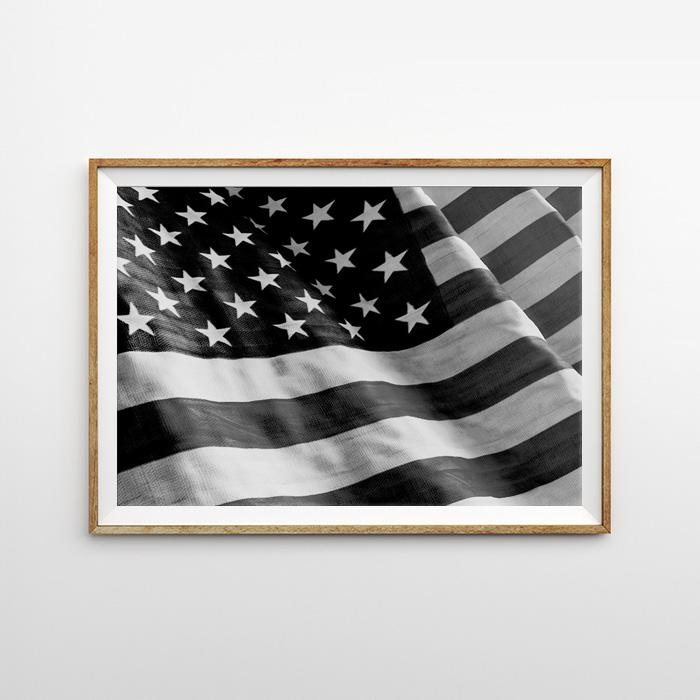 画像1: USA FLAG 国旗 モノトーン ポスター (1)