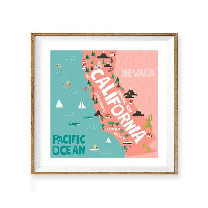 画像1: ロサンゼルス PACIFIC OCEAN マップ ポスター (1)