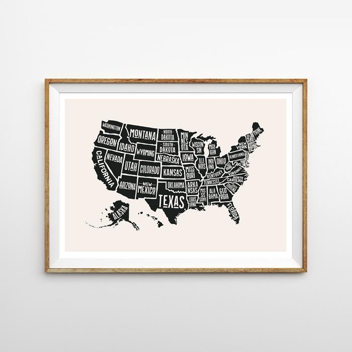 画像1: USA MAP イラスト ポスター (1)