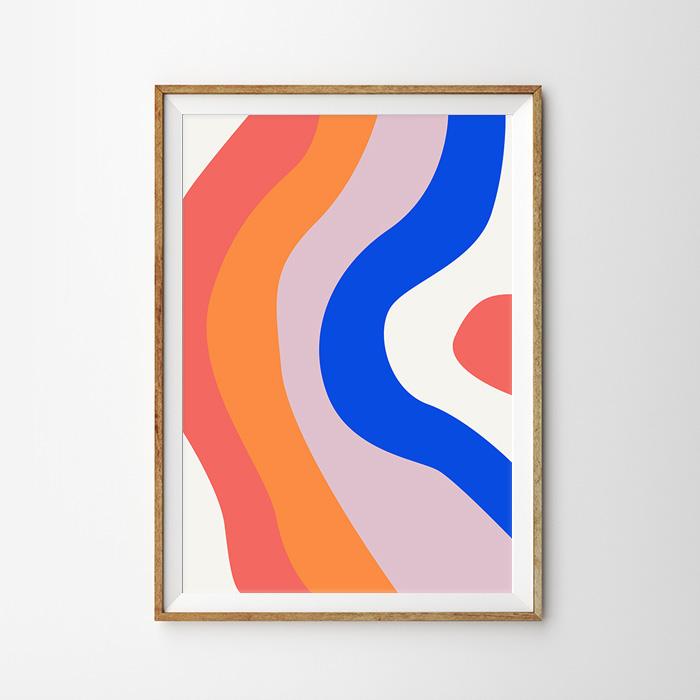 画像1: COLOR WAVES ABSTRACT ポスター (1)